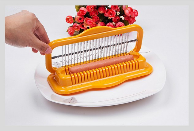 1PC Steel Manual Fancy Sausage Cutter safe Hot Dog Slicers Dicer Plastic Kitchen Tools Gadget Yellow Kitchen Tools  OK 0491| | |  - title=