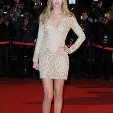 trust linda V Neck Celebrity Dresses Above Mini Length