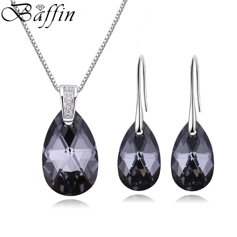 BAFFIN Genuine Crystals From SWAROVSKI Jewelry Sets Silver Color Waterdrop Pendant Necklace Dangle Earrings For Women Joyas 2018 цена