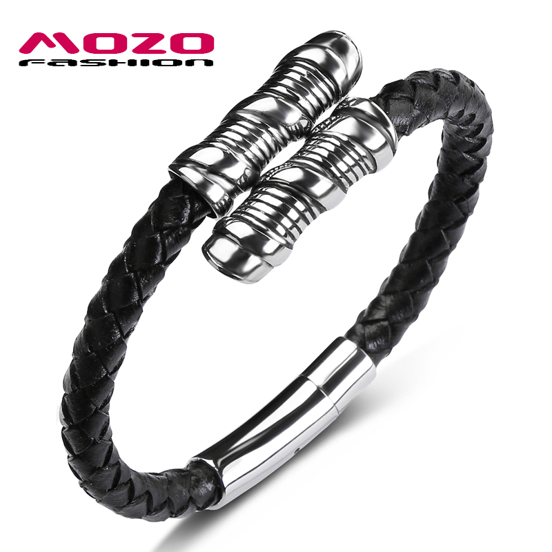 MOZO FASHION 2018 HOT Man Charm Bracelets Genuine Leather Rope Spring buckle Braided Bracelet Style Punk Rock Men Jewelry PS1060