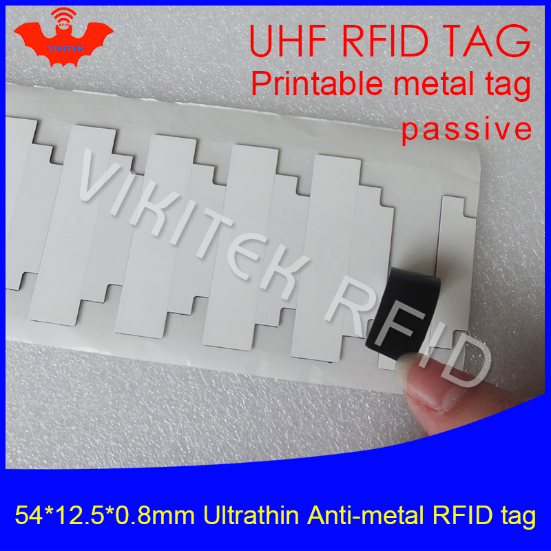 UHF RFID Ultrathin Metal Tag 915m 868m Monza R6 54*12.5*0.8mm EPC 6C IT Fixed Assets Small Printable Passive RFID Synthetic Labe