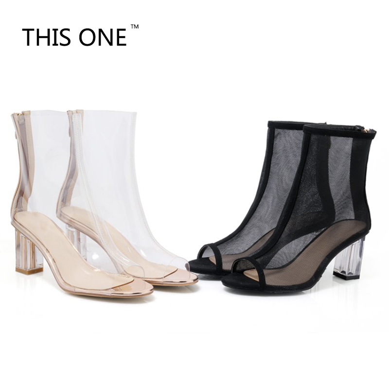 2018 Hot Selling Transparent PVC/Mesh (Air mesh) Ankle Boots Peep Toe Zipper Square Heels Bootie Sexy Gladiator Sandals Boots chunky heel peep toe mesh bootie sandals