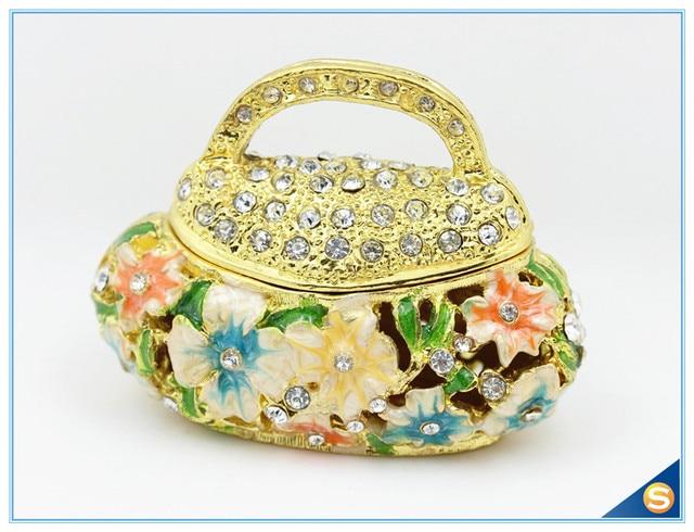 Free Shipping Wedding Gifts Birthday Handbag Design Pewter Enamel Trinket Box Jewelry