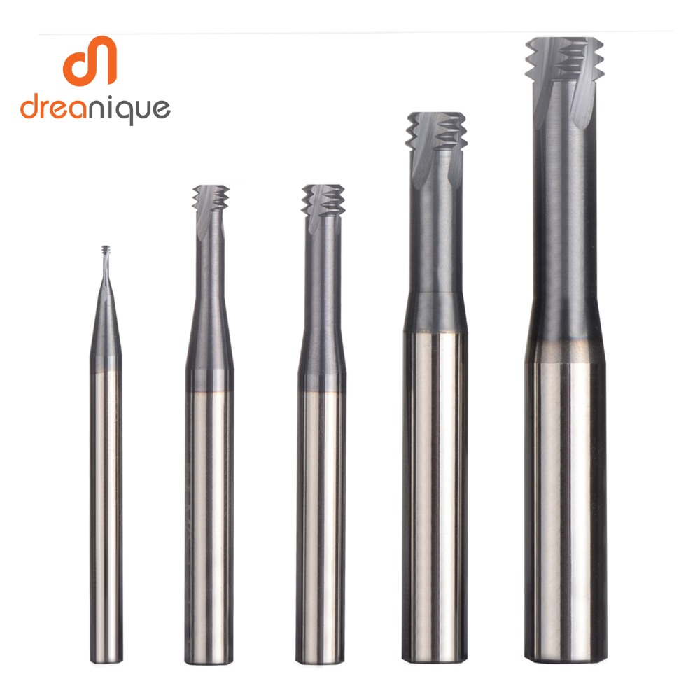 1pc Carbide Alloy 3 Tooth Coated M1.0 - M12 Thread End Mills Cnc Threading Milling Cutter Tool For ISO Metric Thread