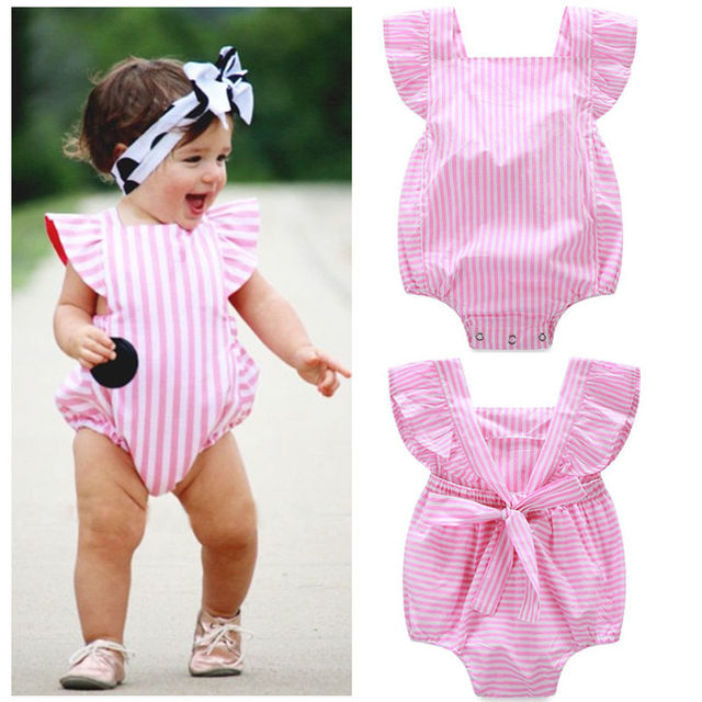 3784fa559 Sweety Infant Baby Girl Pink Striped Romper Jumpsuit Outfits Summer ...