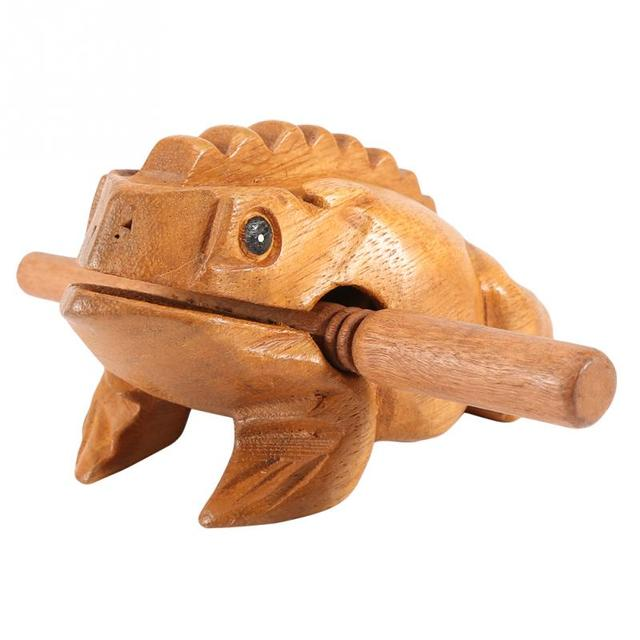 Thailand Traditional Craft Wooden Lucky Frog Croaking Musical Instrument Home Office Decorative Miniatures 1