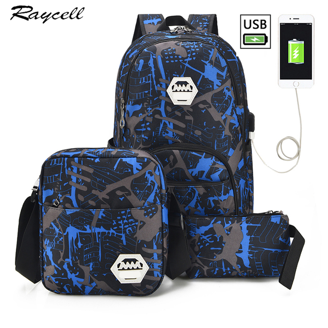 75877e20a05a Men USB Port Backpack With laptop Waterproof Men Male Set College Book Bags  Travel Women Backpack High School Bags For Boys