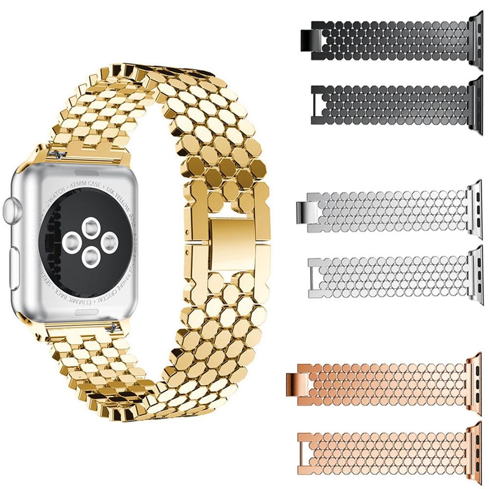 316l pulseira de relógio de aço inoxidável para apple watch 38mm 40mm 42 44mm cinta brilho pulseira de metal para apple iwatch série 1/2/3/4/5