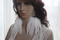 49a1-19 pearls Natural white Feathers Earrings Jewelry 1 pair lhf130930