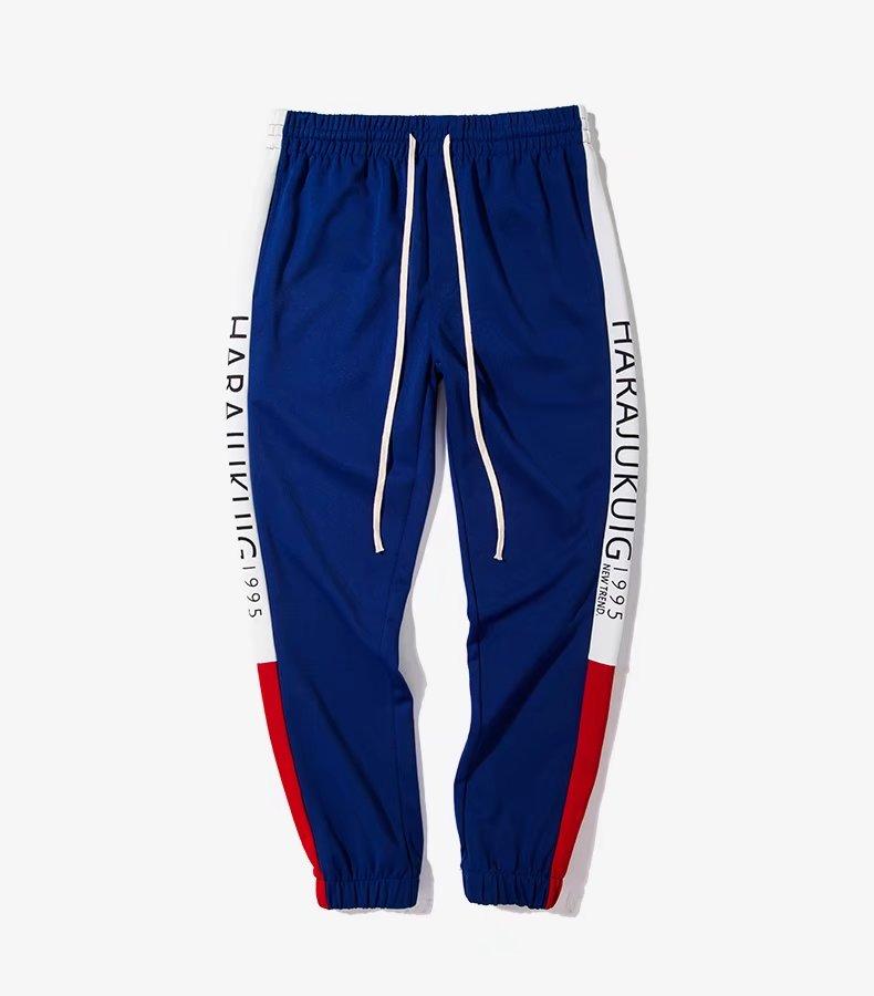 Lado Hombres Moda Alta Pantalones Casual Calidad Vendimia La Cintura De Negro Sudor Contraste Elástica Algodón azul Bolsillos Rayas 2018 EESYF