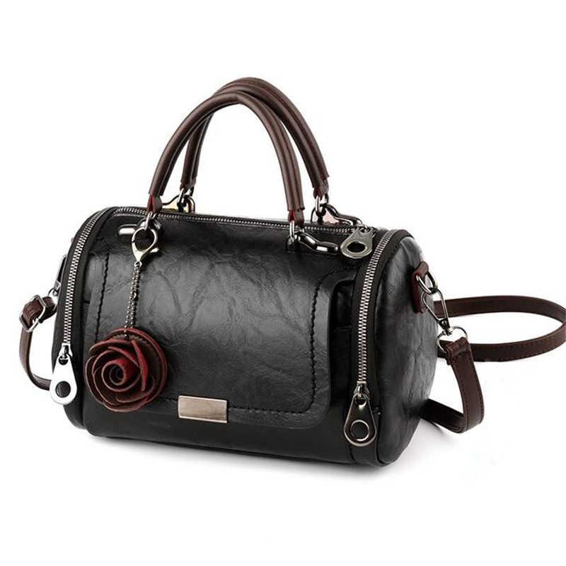 Mode Frauen Schulter Tasche mit Blume Anhänger Damen Totes Party Geldbörse Boston Handtasche Casual Weibliche Messenger Umhängetaschen