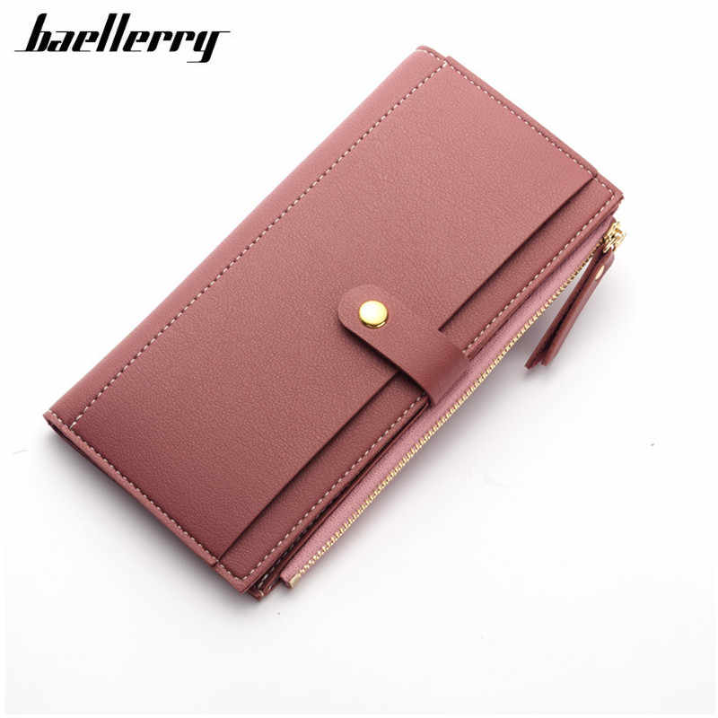 b2074ab75cc 2018 Luxury Women Wallet PU Leather Long Solid Zipper Wallet Money Bag Coin  Purse Female Credit