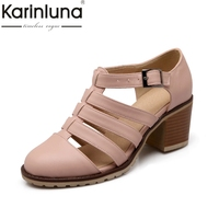 Karinluna 2018 Large Size 34 43 Fashion Gladiator Sandals Ankle Strap Casual Square Heels Comfortable Women