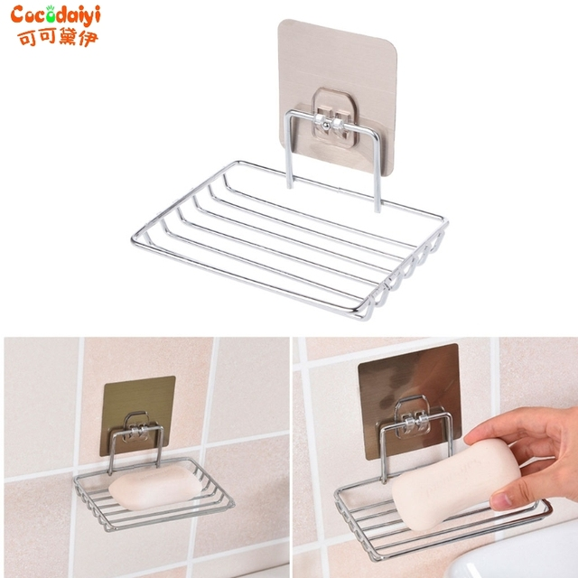 Self Adhesive Stainless Steel Soap Dish Storage Holder Bathroom Kitchen Wall  Mount Sponge Draining Hanger Towel