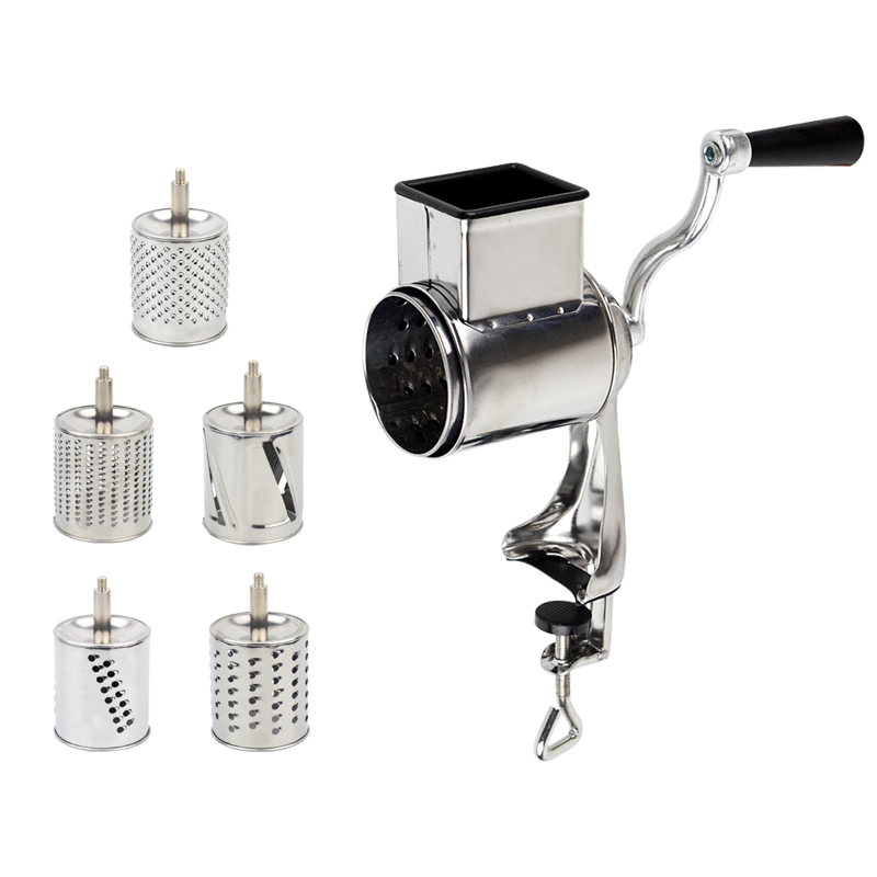 <font><b>Rotary</b></font> <font><b>Grater</b></font> Food Mills Nut Grinder With 5 Drum Blade for <font><b>Cheese</b></font> Grating and Nuts Grinding Vegetable Shredding Fruits Slicer image