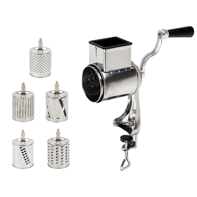 Rotary grater with 5 drum blade for cheese and vegetables and fruits