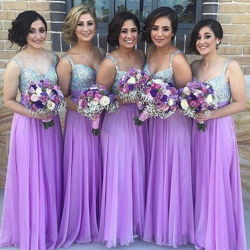 M427 2018 Hot Sale Purple A Line Bridesmaid Dress For Wedding Party Sparkly Sweetheart Beading Chiffon