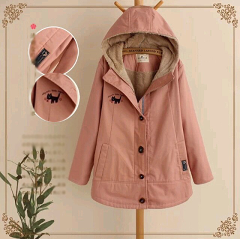 2017 New arrival women winter coats pink yellow cotton long sleeves hooded lambswool thick fashion Korean women winter jacket inc international concepts women s long sleeves cotton blouse 4 candy pink