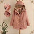 2017 Nueva llegada de las mujeres abrigos de invierno rosa amarillo manera de las mujeres Coreanas de algodón de manga larga con capucha de lana de cordero gruesa chaqueta de invierno