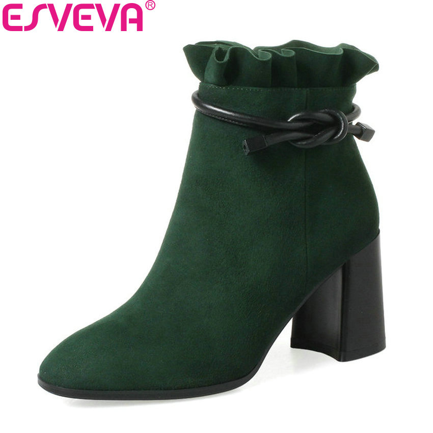 ESVEVA 2018 Synthetic/PU Women Boots Square High Heels Ankle Boots Round Toe Fashion Short Boots Zippers Ladies Shoes Size 34-42 esveva 2018 women boots sweet style zippers square high heels pointed toe ankle boots chunky short plush ladies shoes size 34 39