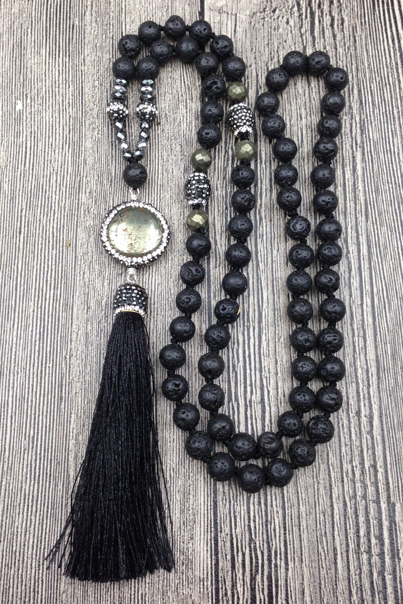 black Biwa pearl and amethyst sterling silver necklace 20\u201d Pyrite