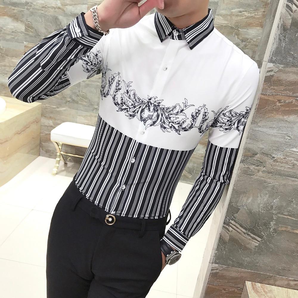 f28c67d268ca50c Новые мужские рубашки с длинным рукавом в полоску с лоскутным принтом  Необычные мягкие повседневные рубашки вечерние рубашки для ночного к... -  b.aniketb.me