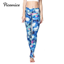 Picemice New Women Yoga Sports Pants High Elasticity Super Soft Quality Printed Leggings Geometric Patterns