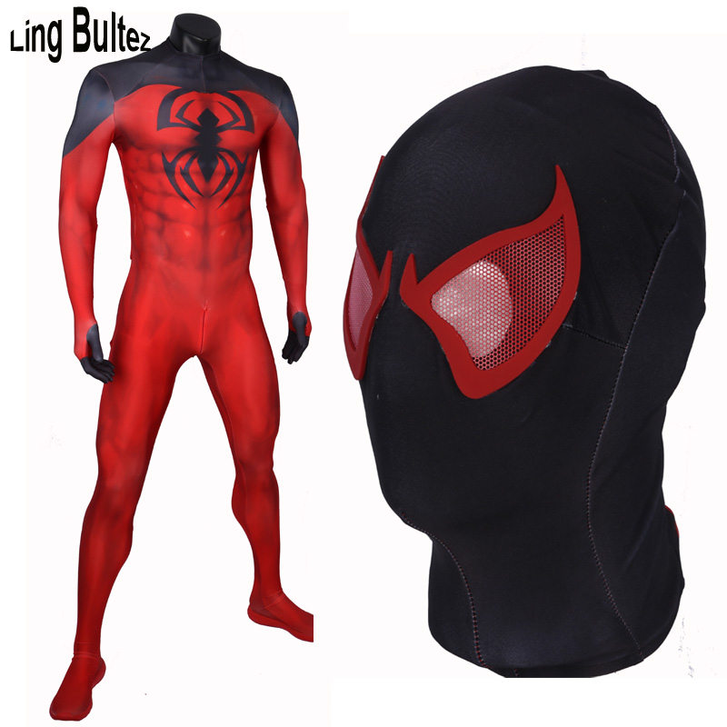 Ling Bultez High Quality New Arrive Scarlet Spiderman Costume Adult Muscle Shade Red Spiderman Spandex Suit