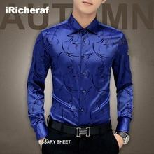 iRicheraf Mens Dress Shirts Plus Size 3XL 4XL 5XL Men Shirt Long Sleeve Slim Fit Clothing Fashion Blue Red High Quality