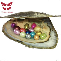 HENGSHENG 1 PC Freshwater Cultured Pearl Oyster with Multi Color 15 pcs 7 8 mm Large Oval Pearls Inside Party Gifts Love Wish