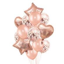 Розовые золотые балоны с конфетти фольгированные шары цвета