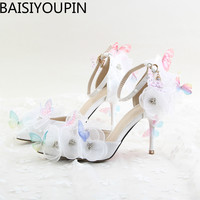 2017 New White Lace Flower Rhinestone Shoes Bride S Shoes Butterfly Point High Heeled Wedding Shoes