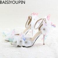 2017 جديد الدانتيل الأبيض زهرة حجر الراين الأحذية حذاء العروس فراشة نقطة عالية الكعب أحذية الزفاف الصنادل الإناث