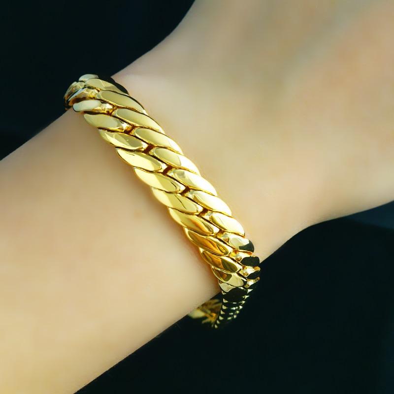 New Rose Flower 18K Gold Filled Chain Bracelet Bangle Women Wedding Jewelry Gift