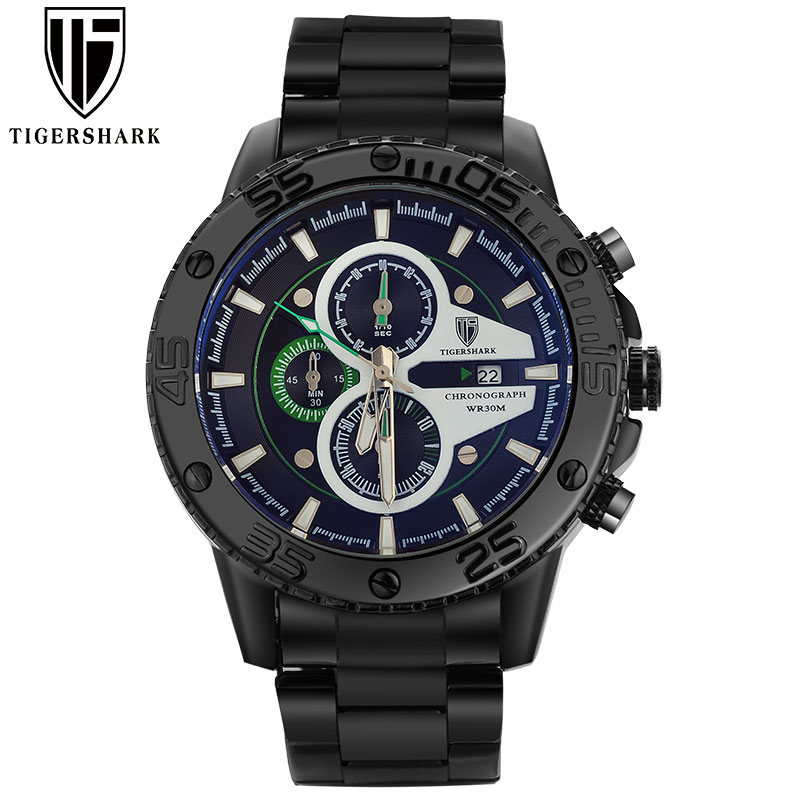 2016 new TIGERSHARK luminous black green dial watches men sport chronograph 30M waterproof date stainless steel