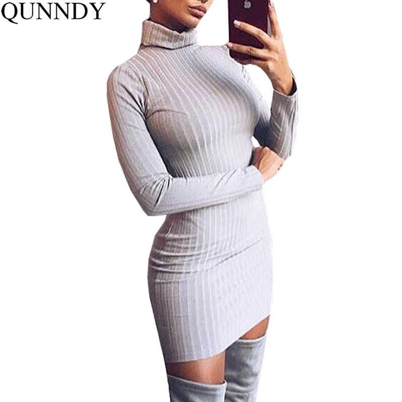 7f3748dbe98 Qunndy Bodycon осень зима платья для женщин модные женские туфли офисные с  длинным рукавом пикантные трикотажные