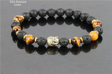 Hotsale Jewelry Black Lava Energy Stone Beads And Tiger Eye Nature Beads Gold Buddha Bracelets for
