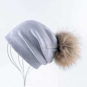 Autumn And Winter Ladies Knitted Wool Bonnet Beanie Hat Women Real Fur Big Ball PomPom Solid Skullies Caps Girls Touca Feminina 2