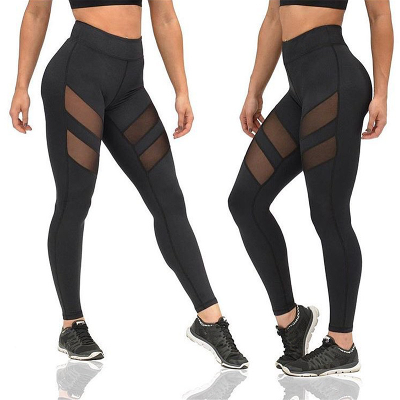 Casual Women Sport Push Up Leggings Black High Waist Breathable Workout Fitness Legins Sexy Mesh Leggins Mujer Polyester