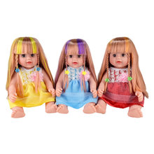 close eyes! 40cm baby Dolls shine hair big lol siliconen pop reborn boneca Rapunzel toys bathing girls Christmas Birthday gift(China)