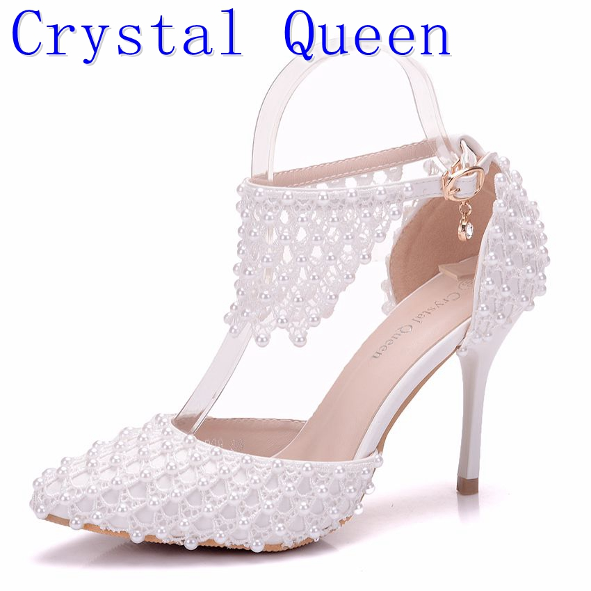 Crystal Queen Pointed Toe Women High Heels Flower Lace Ankle Strap Sandals Fashion Pearl Decoration Party Wedding Shoes pu pointed toe flats with eyelet strap
