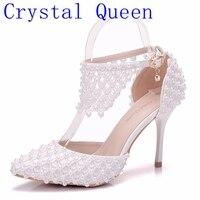 Kristall Königin Spitz Frauen High Heels Blume Spitze Riemchen Sandalen Mode Perle Dekoration Party Hochzeit Schuhe