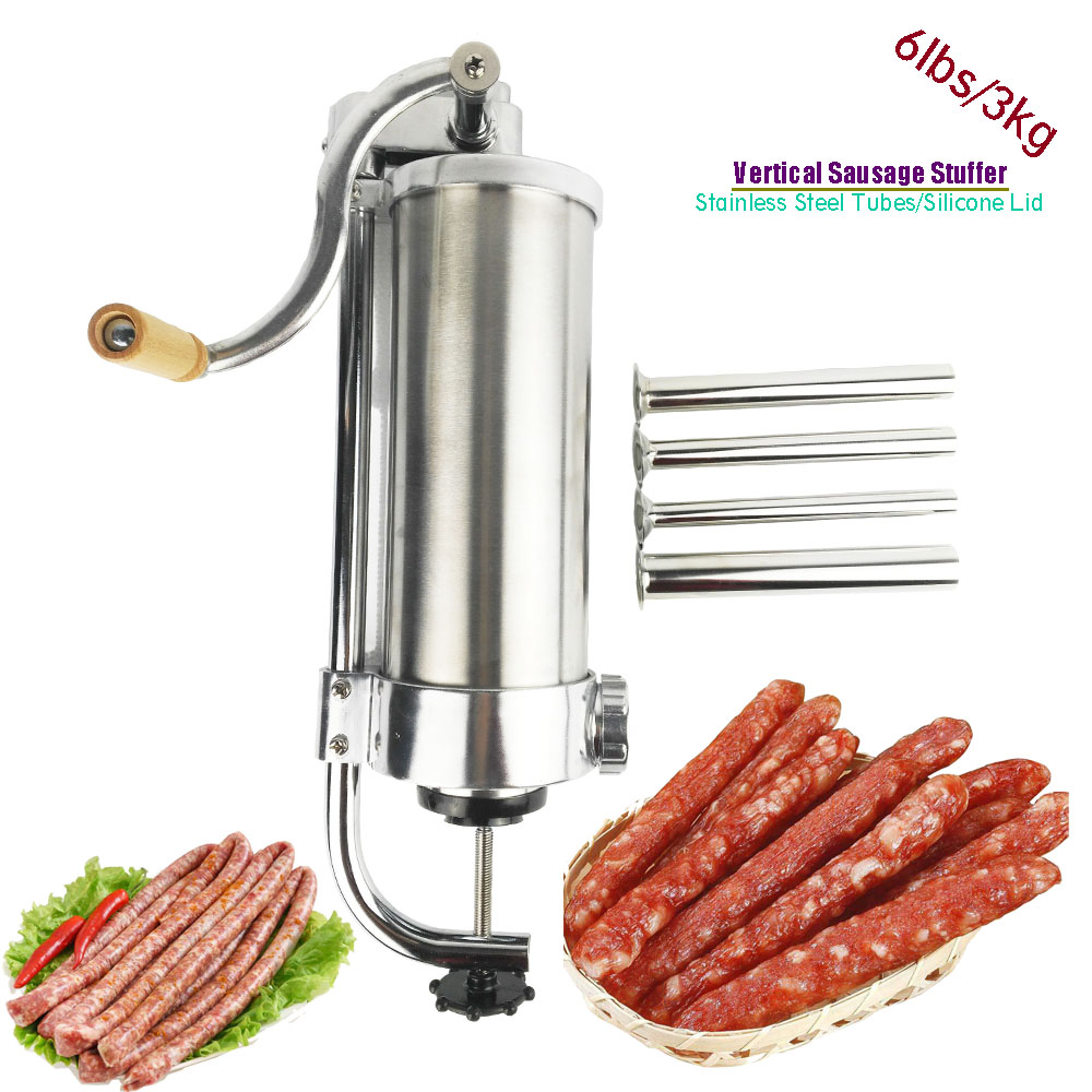 3L/6lbs Vertical Sausage Stuffer Filler Sausage Filling Machine Manual Stainless Steel Kitchen Meat Tool Tubes Sausage Maker