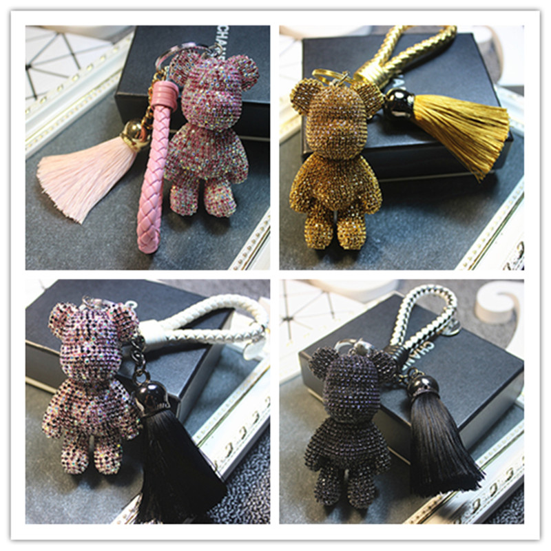 Korea Luxury Whole Crystal Tassel Gloomy Bear Car Key Chain Pendant Bag Decoration Accessory Jewelry For Woman Jqcykc001 In Chains From