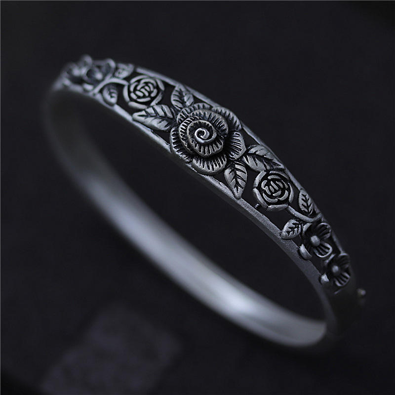 C&R Real 990 Sterling Silver bangles for women bracelet Retro Carved peony hollow black Thai Silver Fine Jewelry