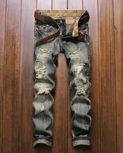 Топ Модные Мужские Рваные Джинсы Тонкий Разорвал Разрушенные Джинсы Мужчины Проблемные Исправленными Холи Омывается Прямой Ногой Встроенная #953
