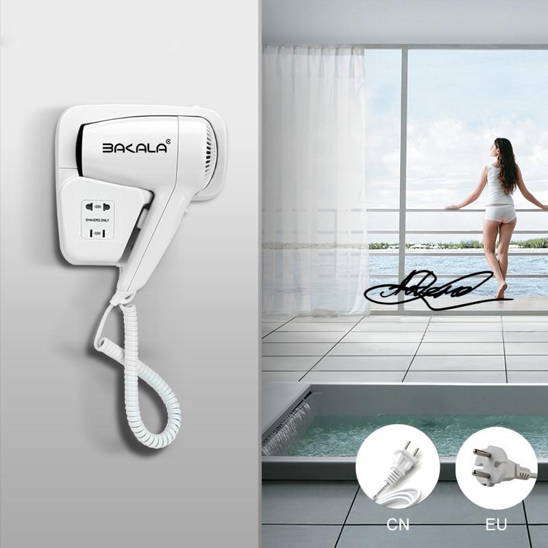 EU CN Plug 110V 220V Dry Hotel Bathroom Home Bathroom Hair Dryer Dry Skin Hanging Wall Mount Hair Dryer