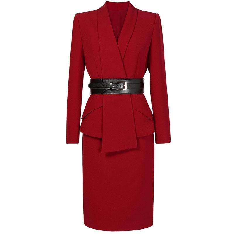 Red RoosaRosee 2019 Office Lady OL Sets Long Sleeve Turn down Collar Black Red Blazer Long