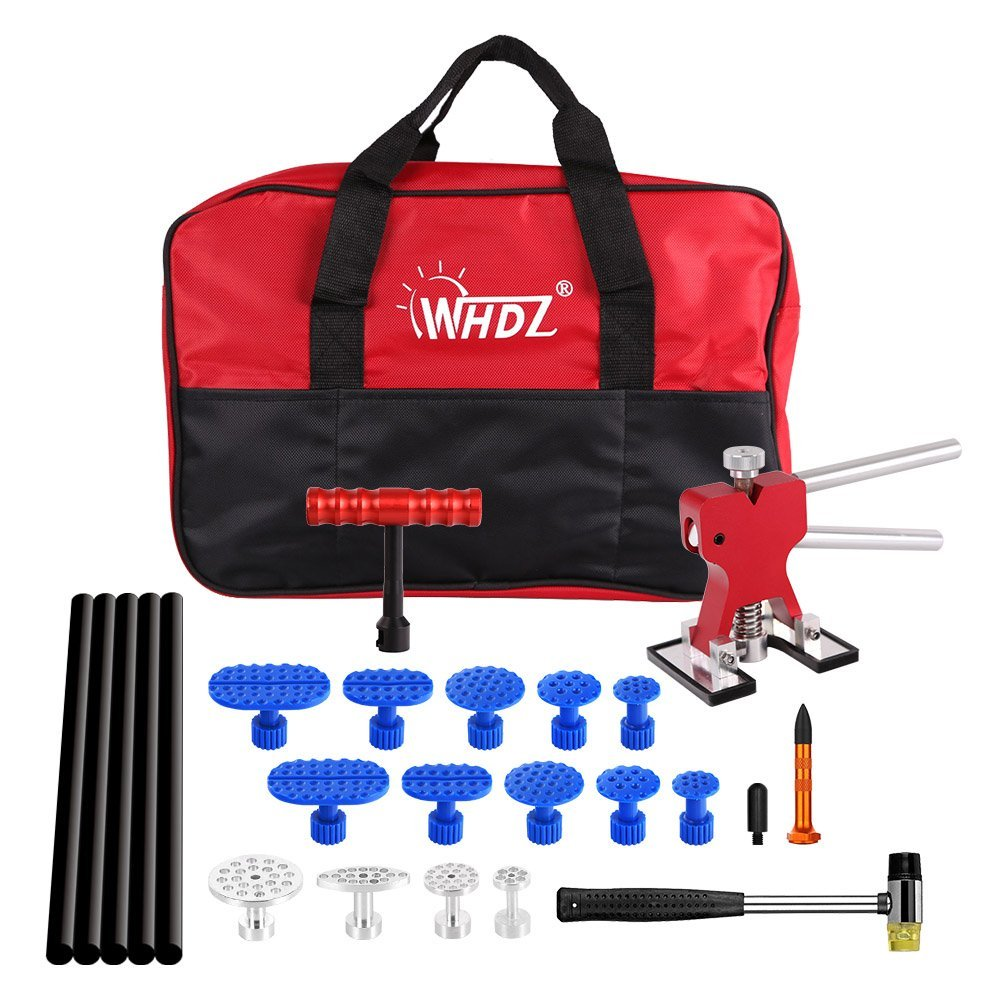 WHDZ 25 Pcs Paintless Dent Removal Repair Tool Kits Dent Lifter with Dent Glue Puller Tabs for Car Body Dent Repair Hail Removal car body paintless hail pdr dent lifter repair removal tool glue puller tab