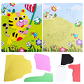 1sheet tiger Patterns Kids Foam Mosaic Stickers Art Puzzle DIY 3D Diamond Pasted Cartoon Character Children DIY Educational Toy